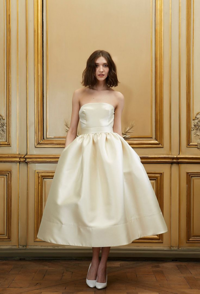 tea length wedding dress | Delphine Manivet