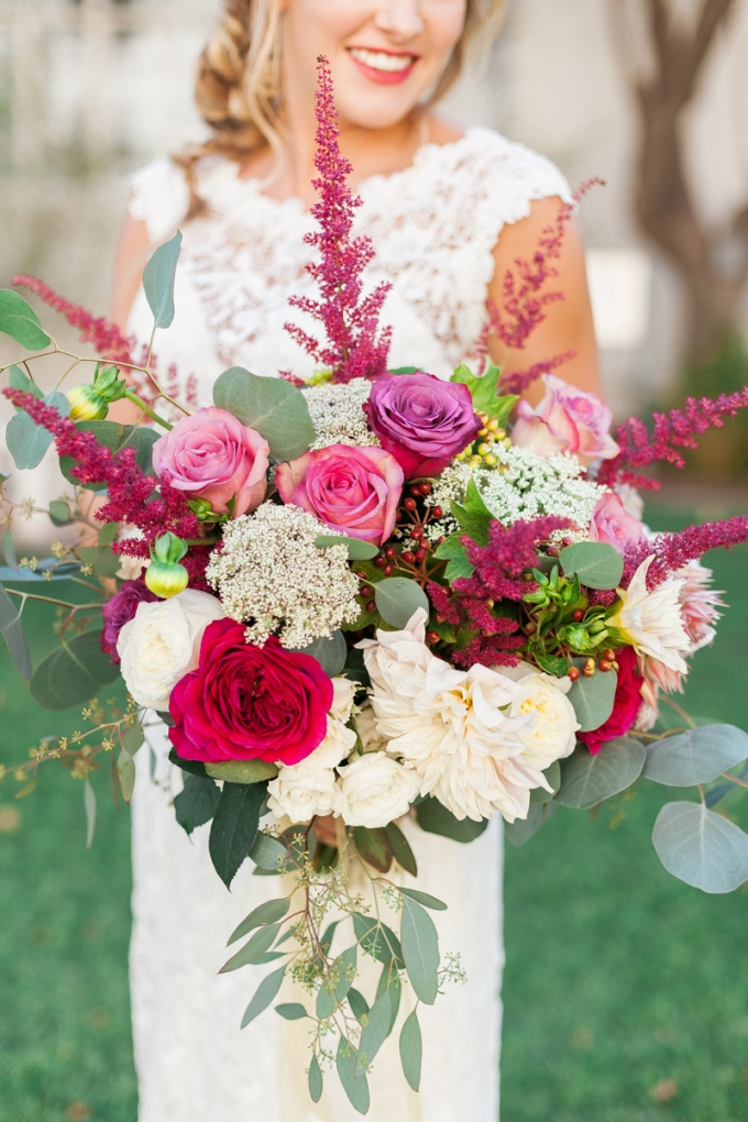 boho magenta bouquet | April Maura Photography | Glamour & Grace