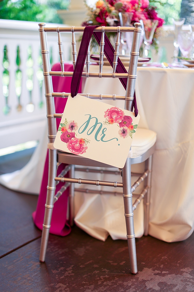 floral Mr chair sign | Shelley Dee Photography | Glamour & Grace