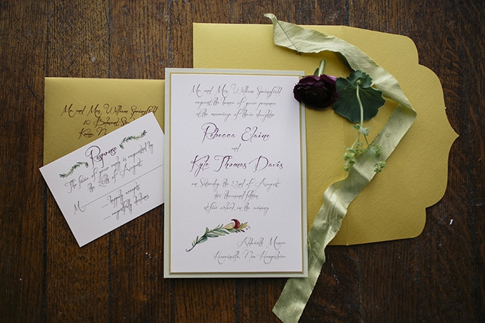 elegant gold and burgundy invitation | Kate Preftakes Photography | Glamour & Grace