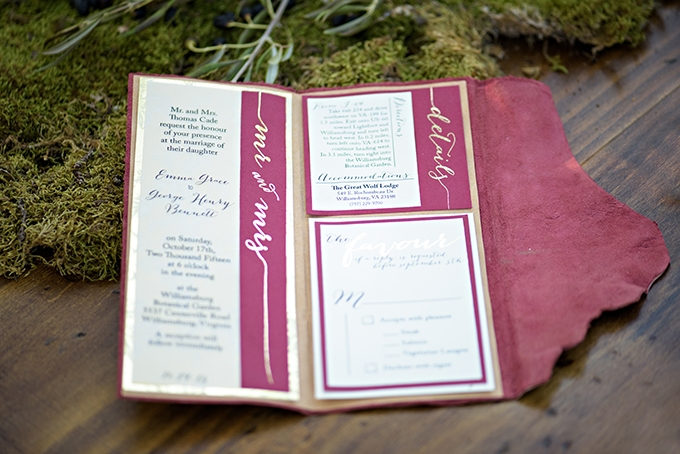 leather bound invitation | Meredith Ryncarz Photography | Glamour & Grace