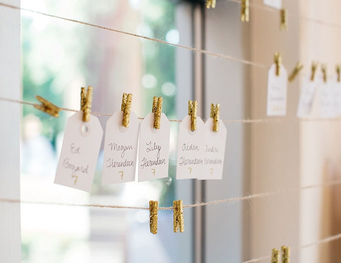 glitter clothespin escort cards | Perregeaux Wedding Photography | Glamour & Grace