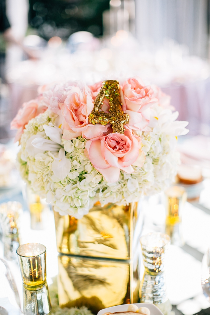 gold and pink centerpiece | Lora Grady Photography | Glamour & Grace