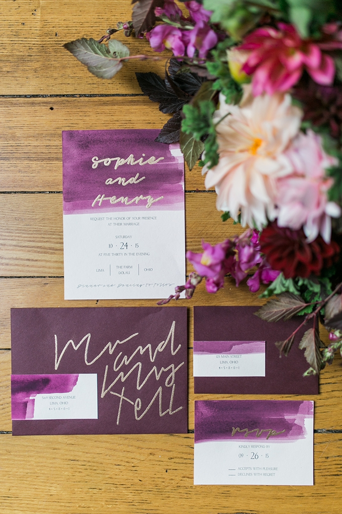 Purple Wedding Invitation Mandy Ford Photography Glamour Grace Glam Cranberry And Gold