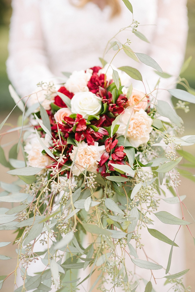 red #bouquet with greenery   Dani White Photography   Glamour & Grace