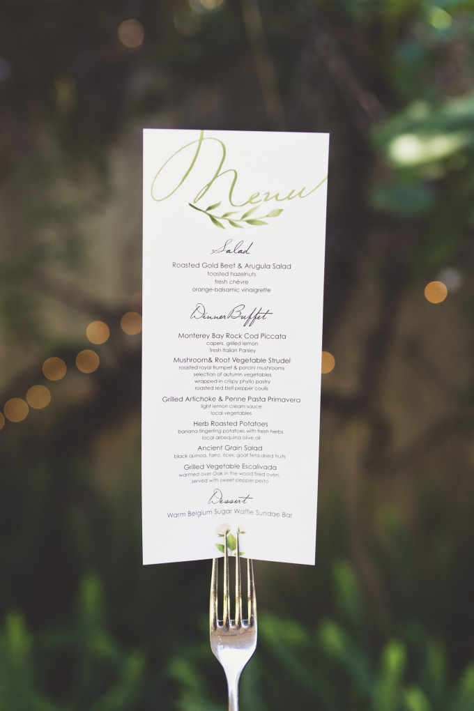 watercolor menu | Sarah Kathleen | Glamour & Grace