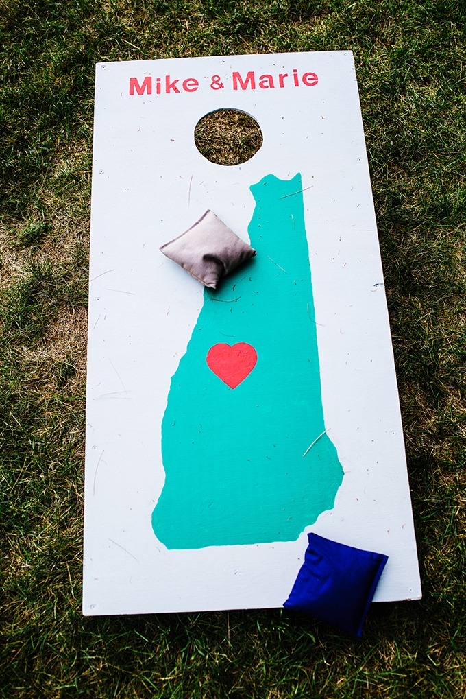 corn hole board | Bethany and Dan Photography | Glamour & Grace