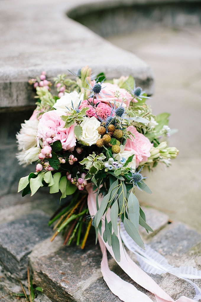 pink and blue bouquet | Chelsea Anderson Photography | Aisle Society for David's Bridal | Glamour & Grace