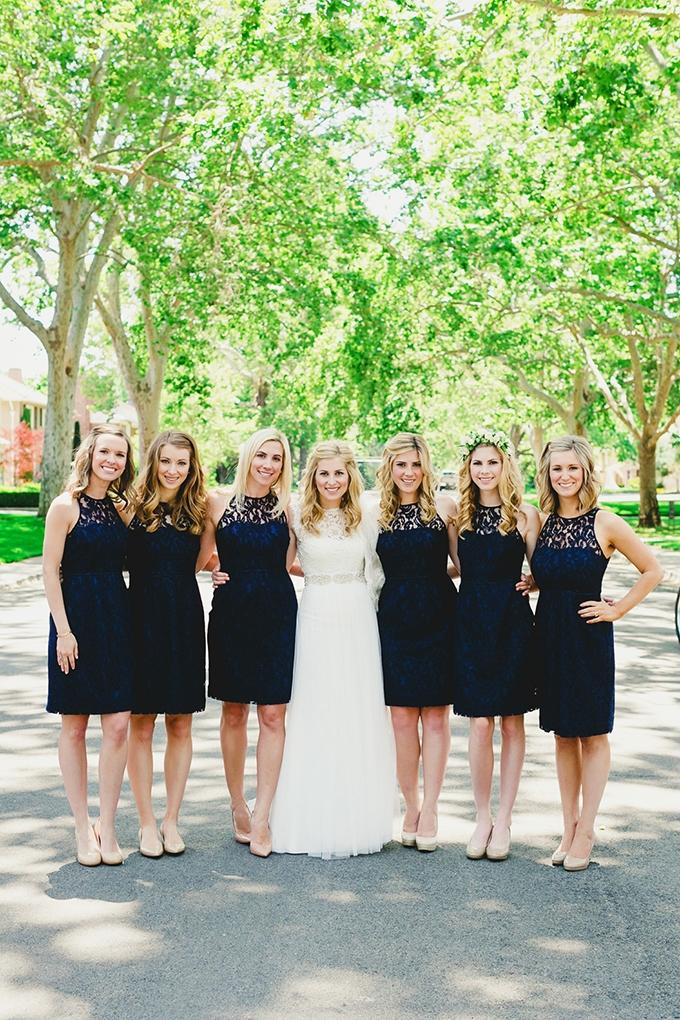 navy bridesmaids | Milou + Olin Photography | Glamour & Grace
