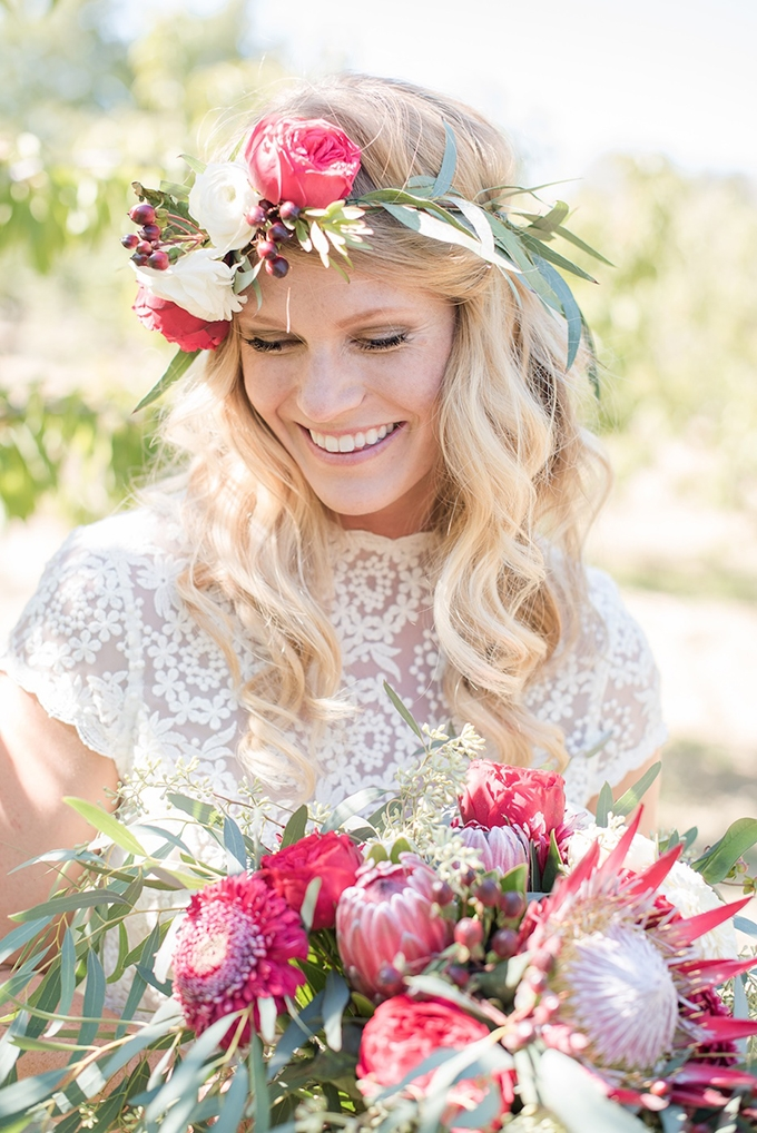 boho bride with floral crown | Megan Hayes Photography | Glamour & Grace