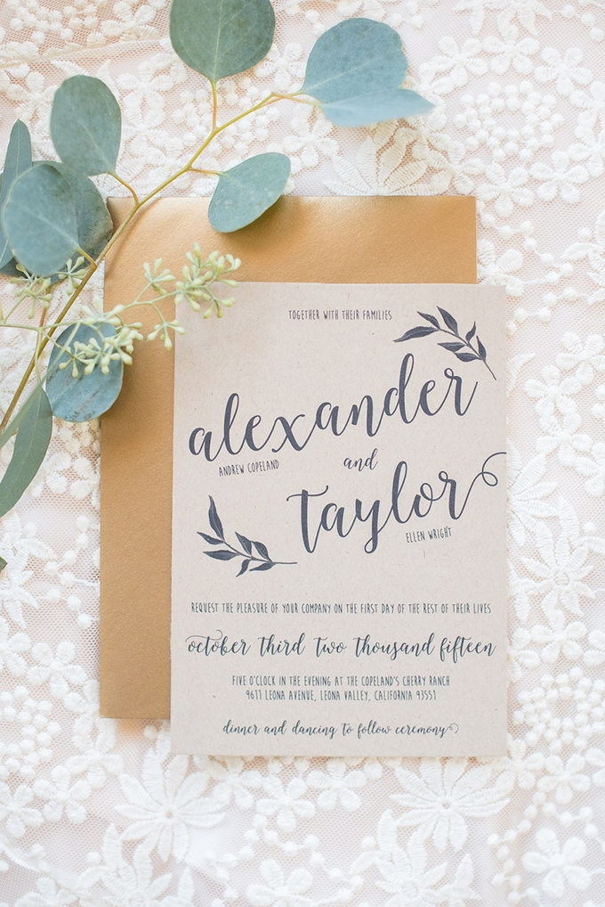 craft paper invitation | Megan Hayes Photography | Glamour & Grace