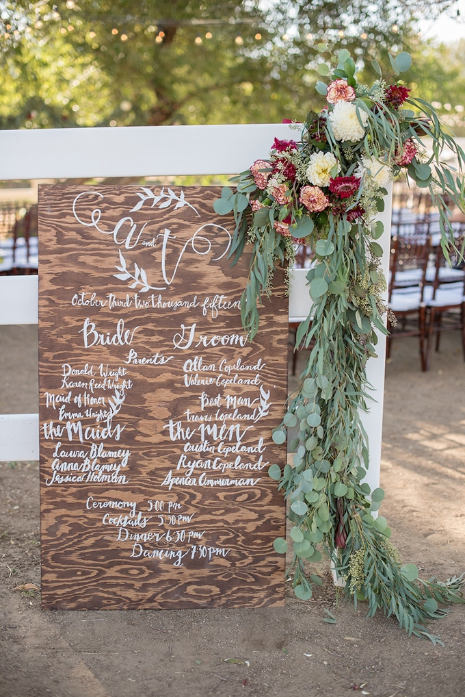 wooden program sign | Megan Hayes Photography | Glamour & Grace