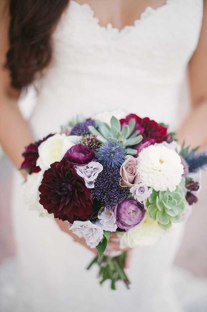 dahlia and succulent bouquet | Lauren Carroll Photography | Glamour & Grace
