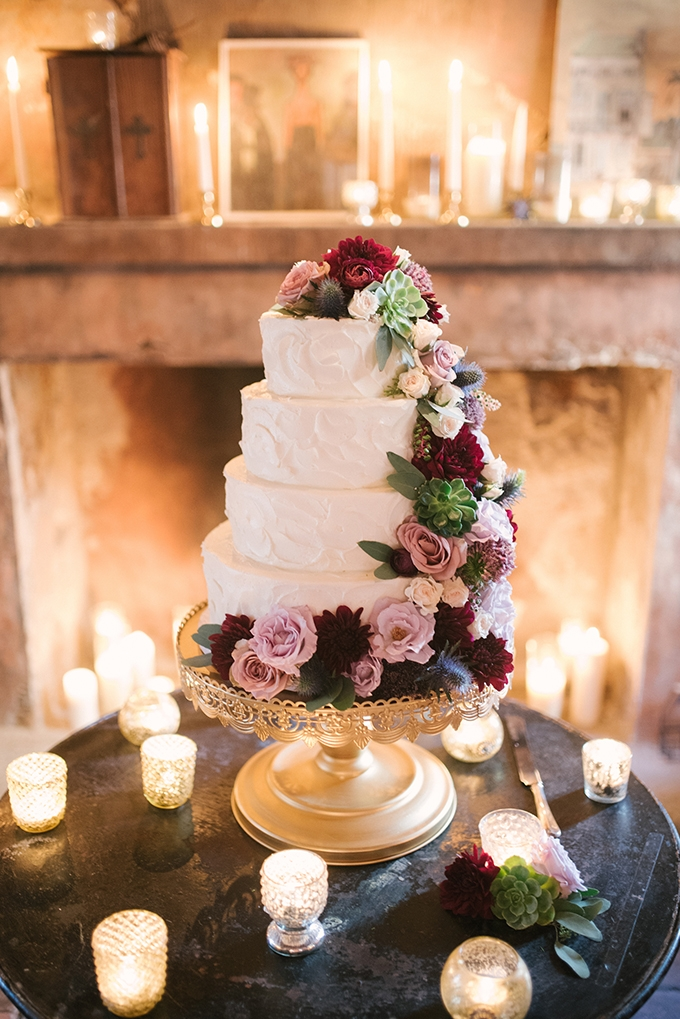 romantic flower covered cake | Lauren Carroll Photography | Glamour & Grace