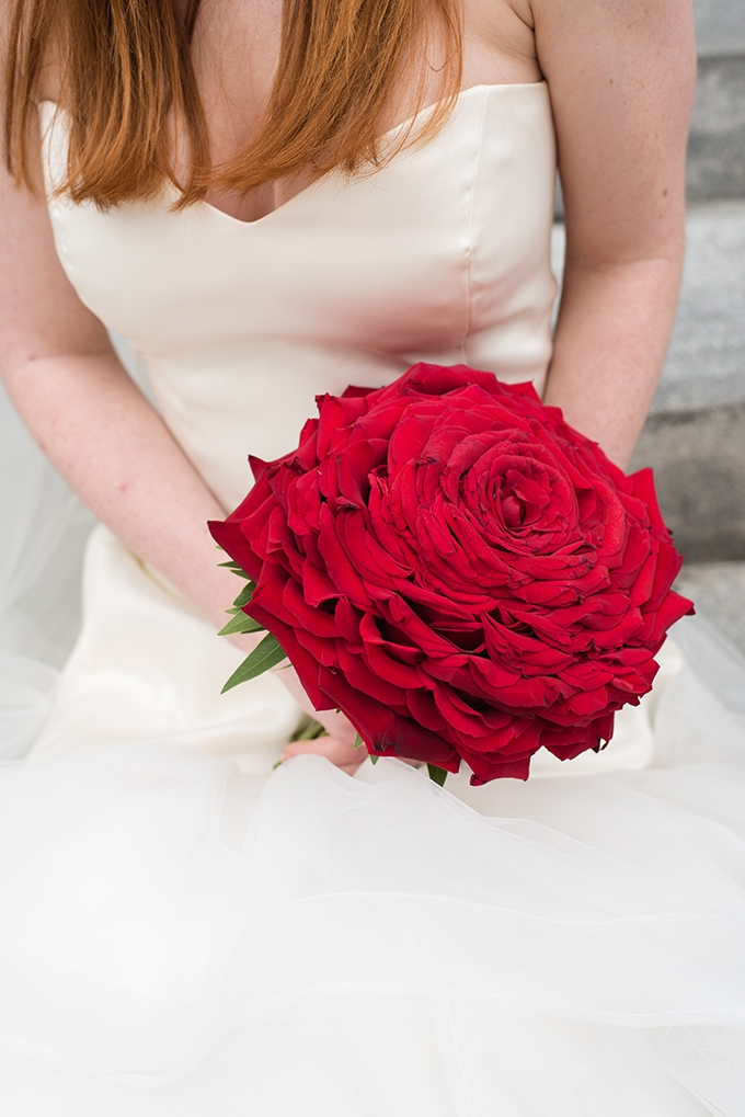 giant red rose bouquet | Caroline & Evan Photography | Glamour & Grace
