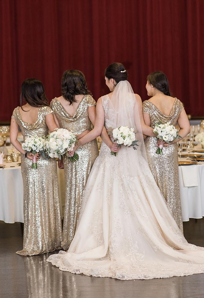 gold glitter bridesmaids | B. Jones Photography | Glamour & Grace