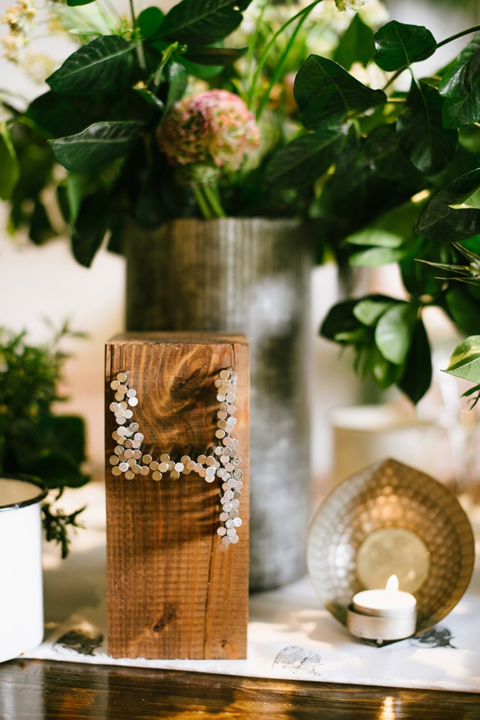 wood and nail table numbers | Christiansen Photography | Glamour & Grace