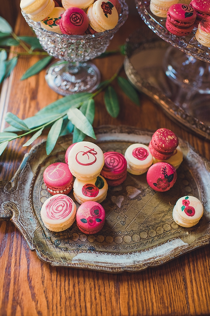 handpainted macarons | Sun & Sparrow Photography and Films | Glamour & Grace