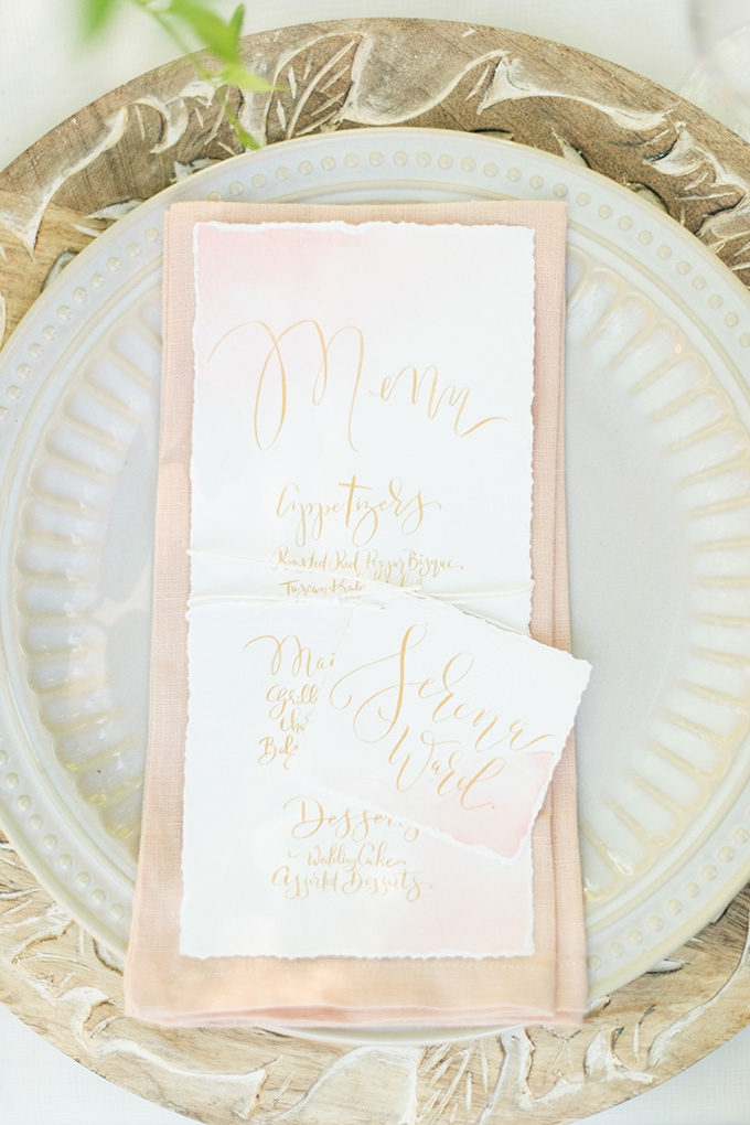 calligraphy menu | Lori Lynn Photography | Glamour & Grace