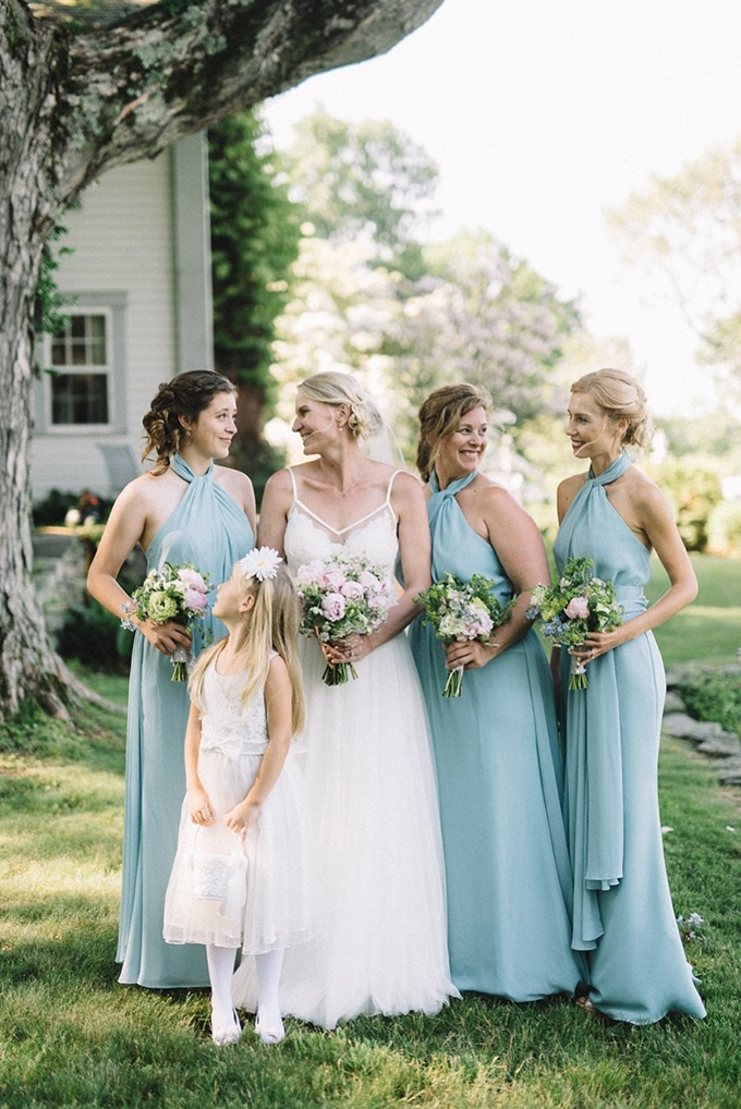 light blue bridesmaids | Lindsay Hackney | Glamour & Grace