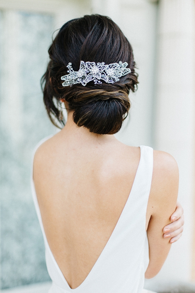 elegant updo with Marchesa headpiece | Emily Sacco Photography | Glamour & Grace