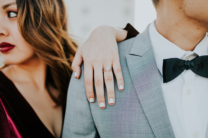 glam rooftop engagement | Mirage and Light Photography | Glamour & Grace