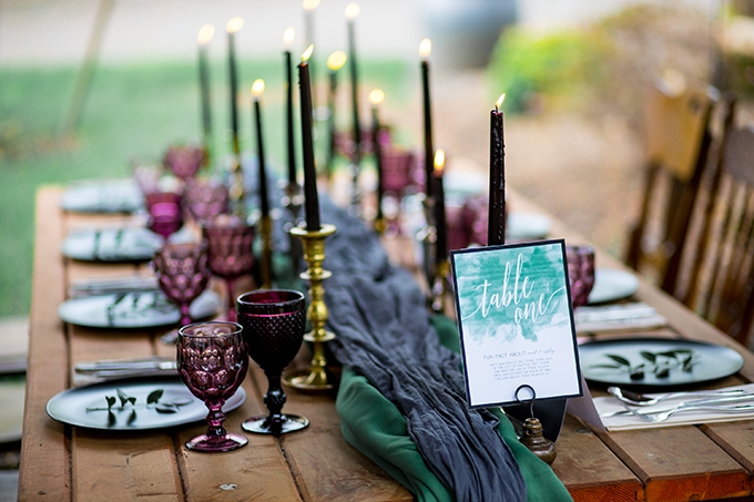 jewel tone garden wedding inspiration | Solie Designs | Glamour & Grace