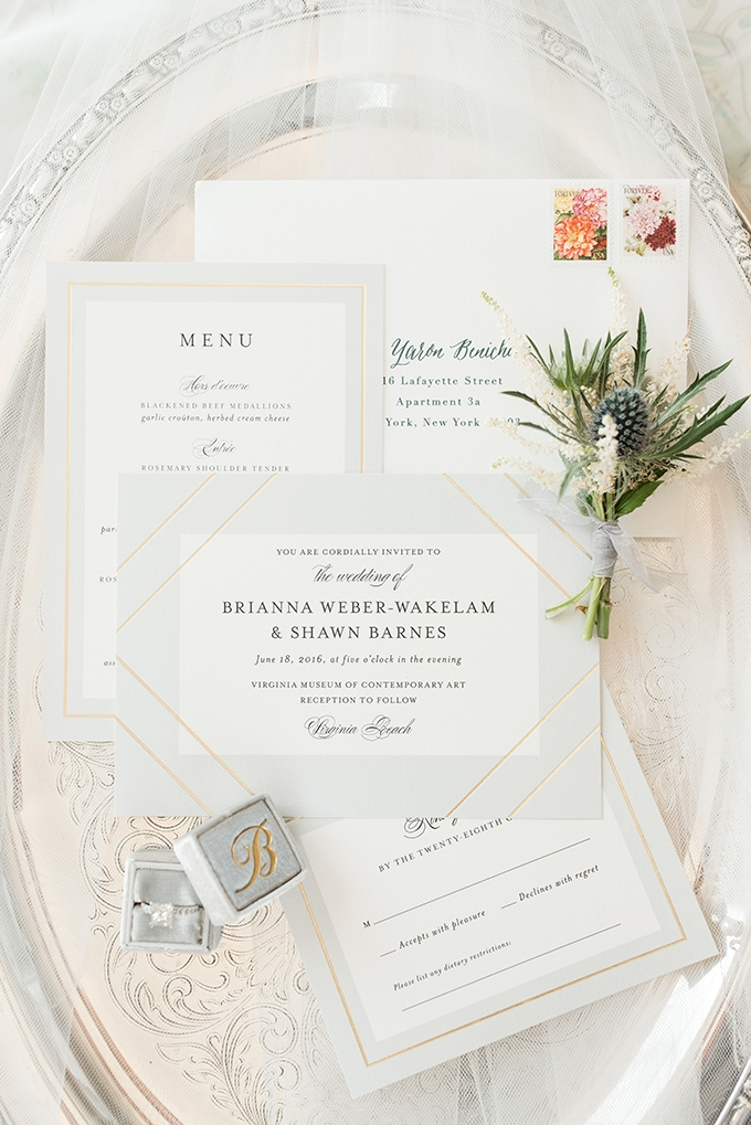elegant gray invitation | Audrey Rose Photography | Glamour & Grace