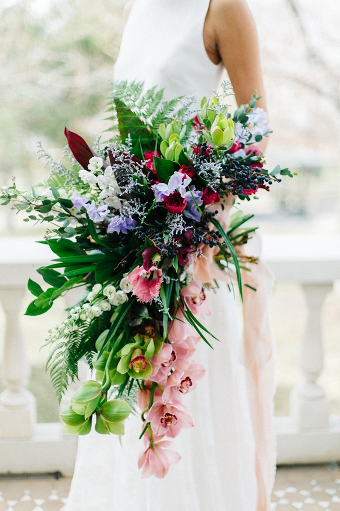 romantic tropical bouquet | Emily Sacco Photography on Glamour & Grace
