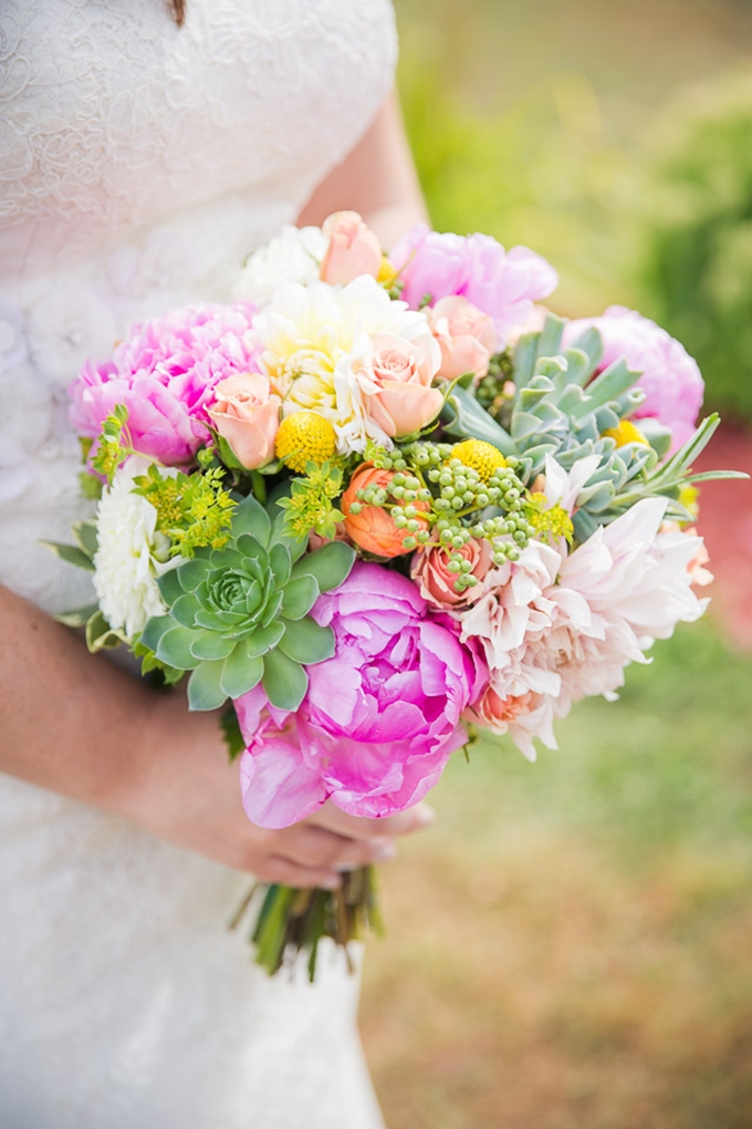 succulent and peony bouquet | Jaclyn Schmitz Photography on Glamour & Grace