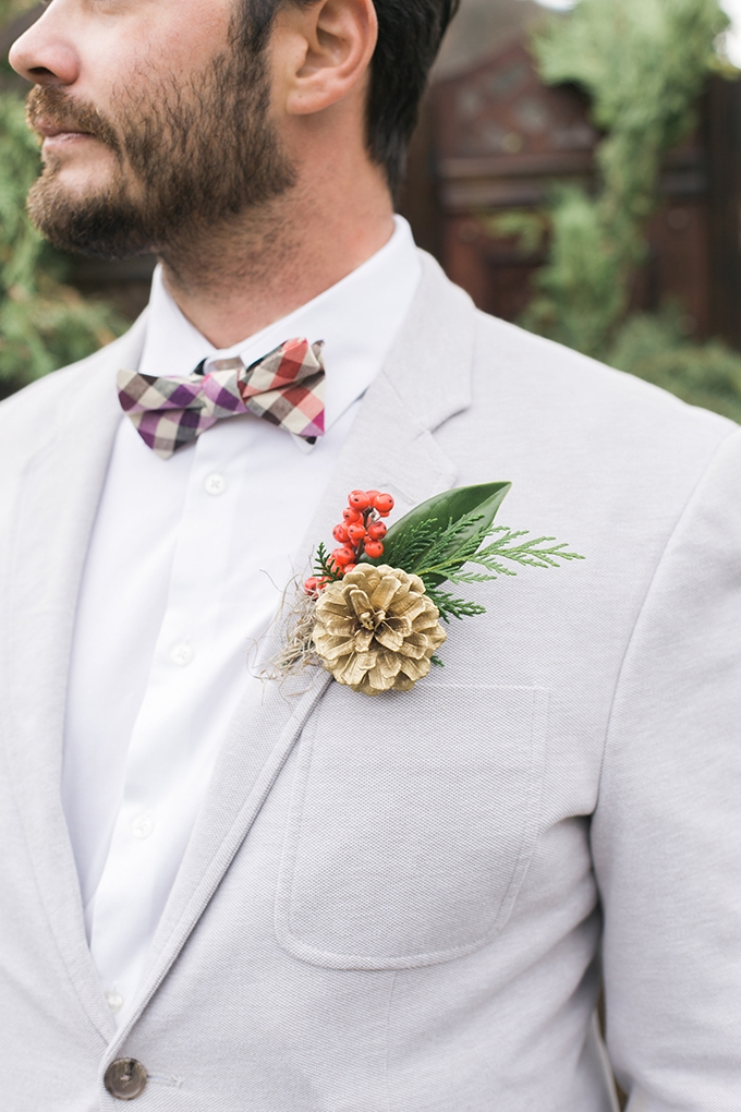 gold pinecone boutonniere | Whimsie Photo and Video | Glamour & Grace