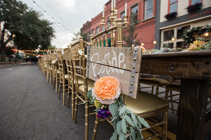 romantic outdoor street wedding | Megan Manus Photography | Glamour & Grace