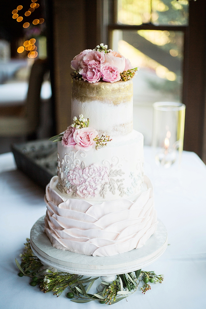 romantic pink and gold wedding cake | Julie K. Gray Photography | Glamour & Grace