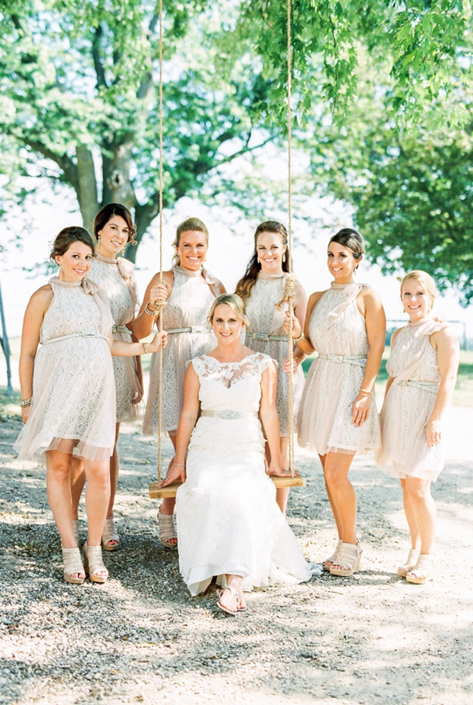 neutral lace bridesmaid dresses | Eric M Schwanke Photography | Glamour & Grace