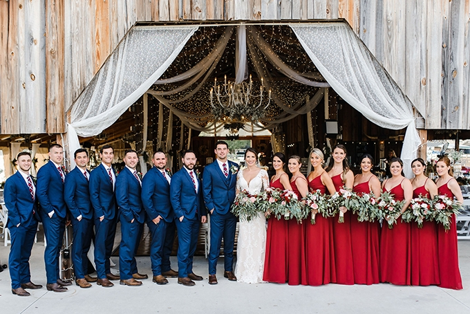 red rustic barn wedding | Jen House Photography | Glamour & Grace