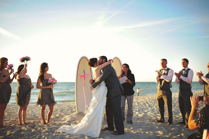 A Vintage Surfing Beach Wedding Glamour Amp Grace