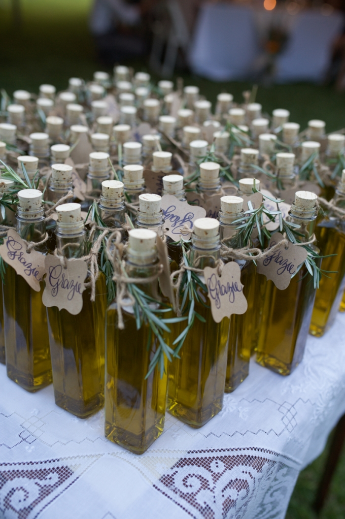 Olive Oil Favors Megan Noonan Photography Glamour Grace Italian Themed Backyard Wedding